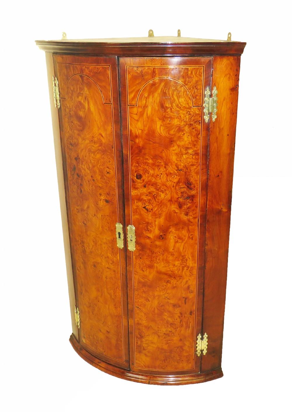 18th century georgian burr elm walnut corner cupboard
