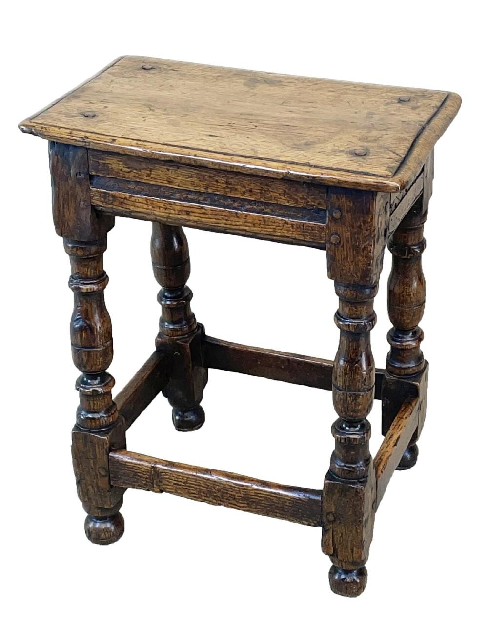 17th century oak joint stool