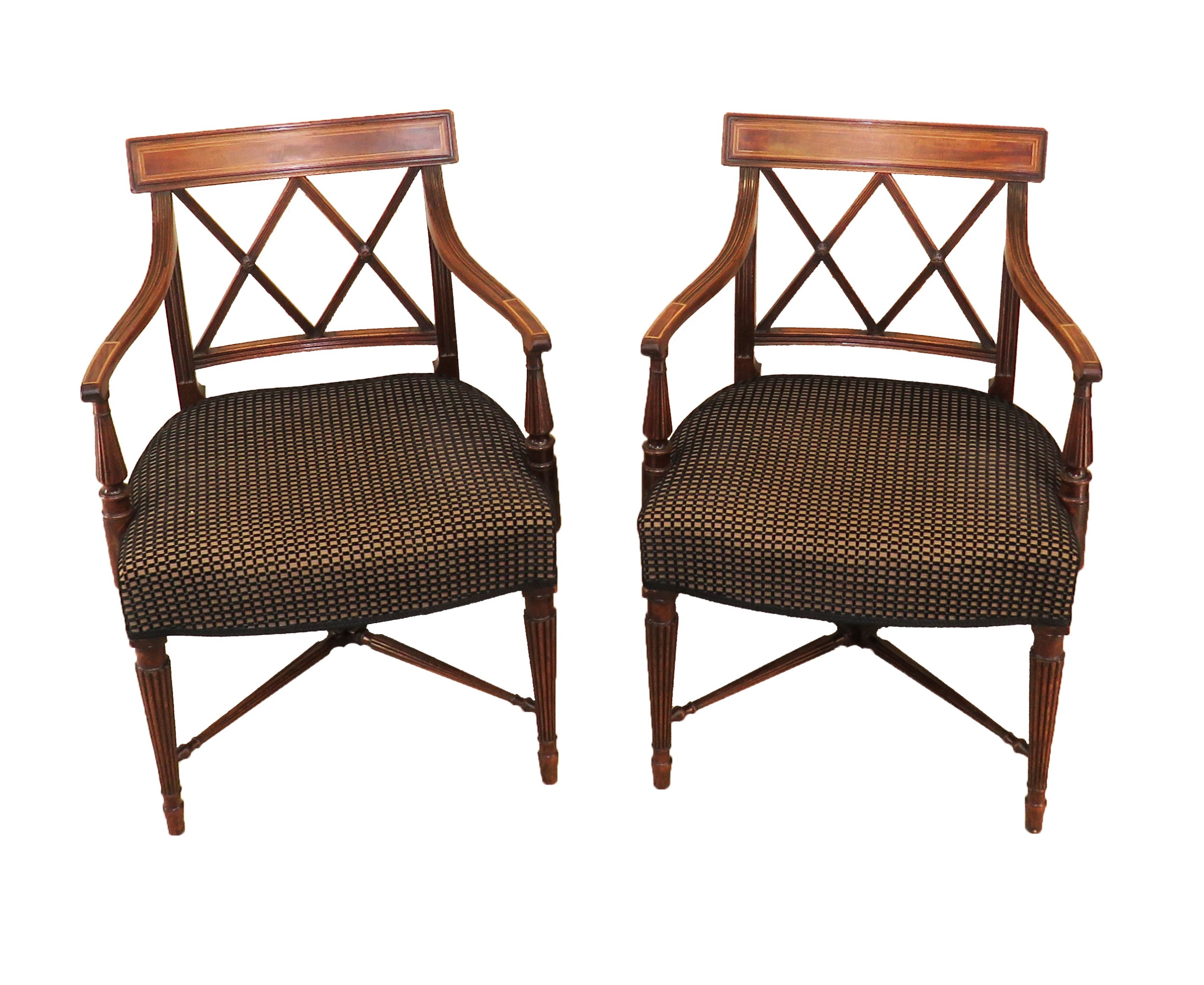18th century sheraton period pair of georgian carver armchairs