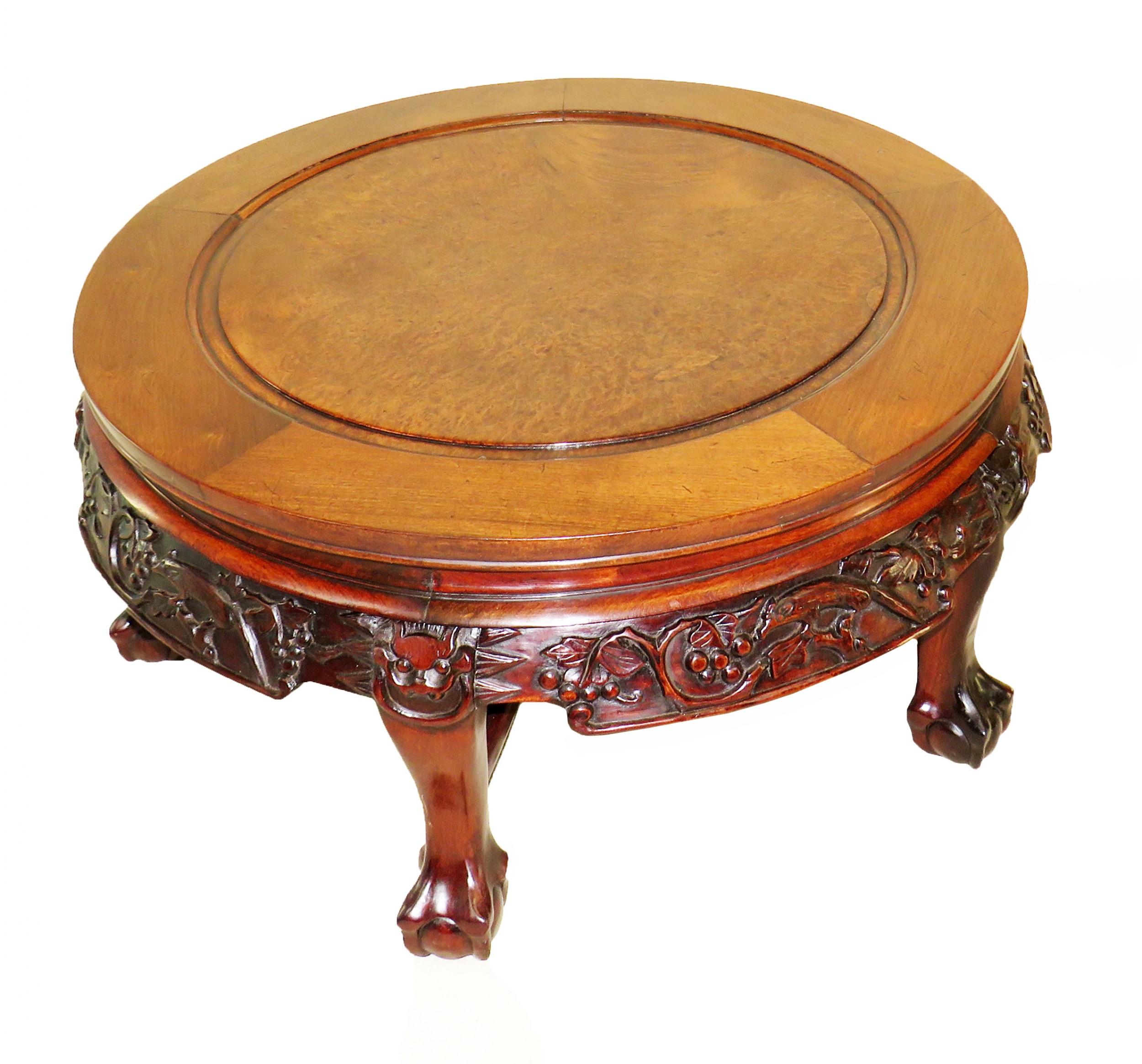 19th century oriental hardwood circular coffee table