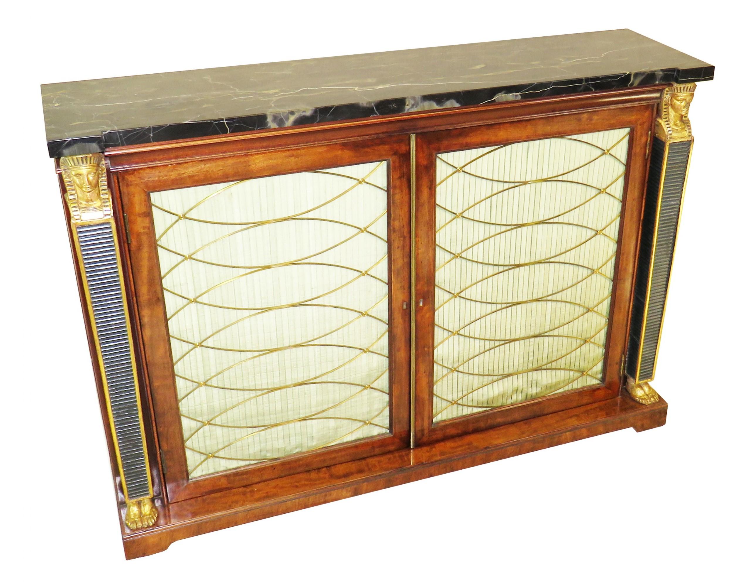 regency 19th century english mahogany parcel gilt side cabinet