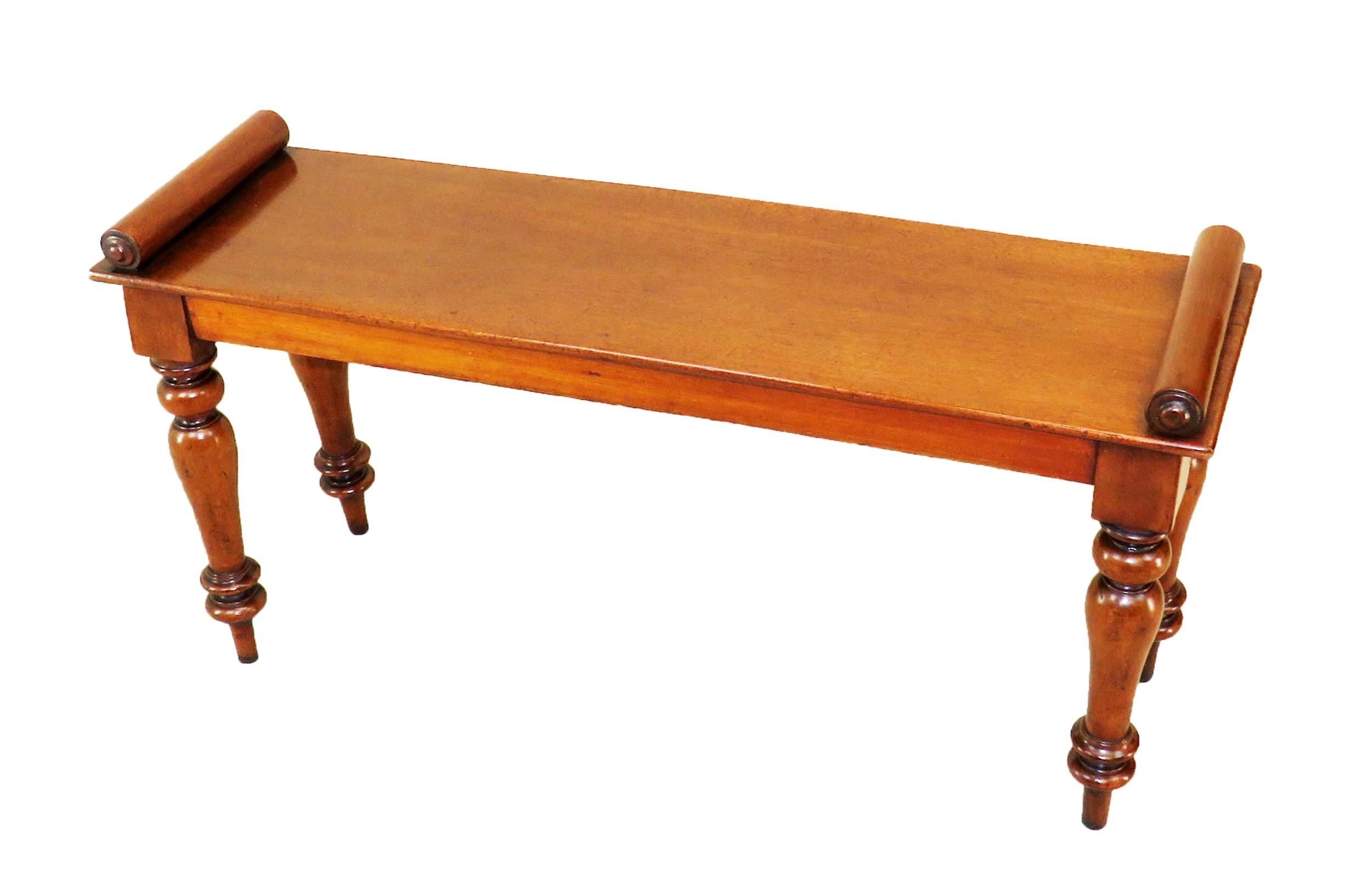 19th century mahogany window seat hall bench