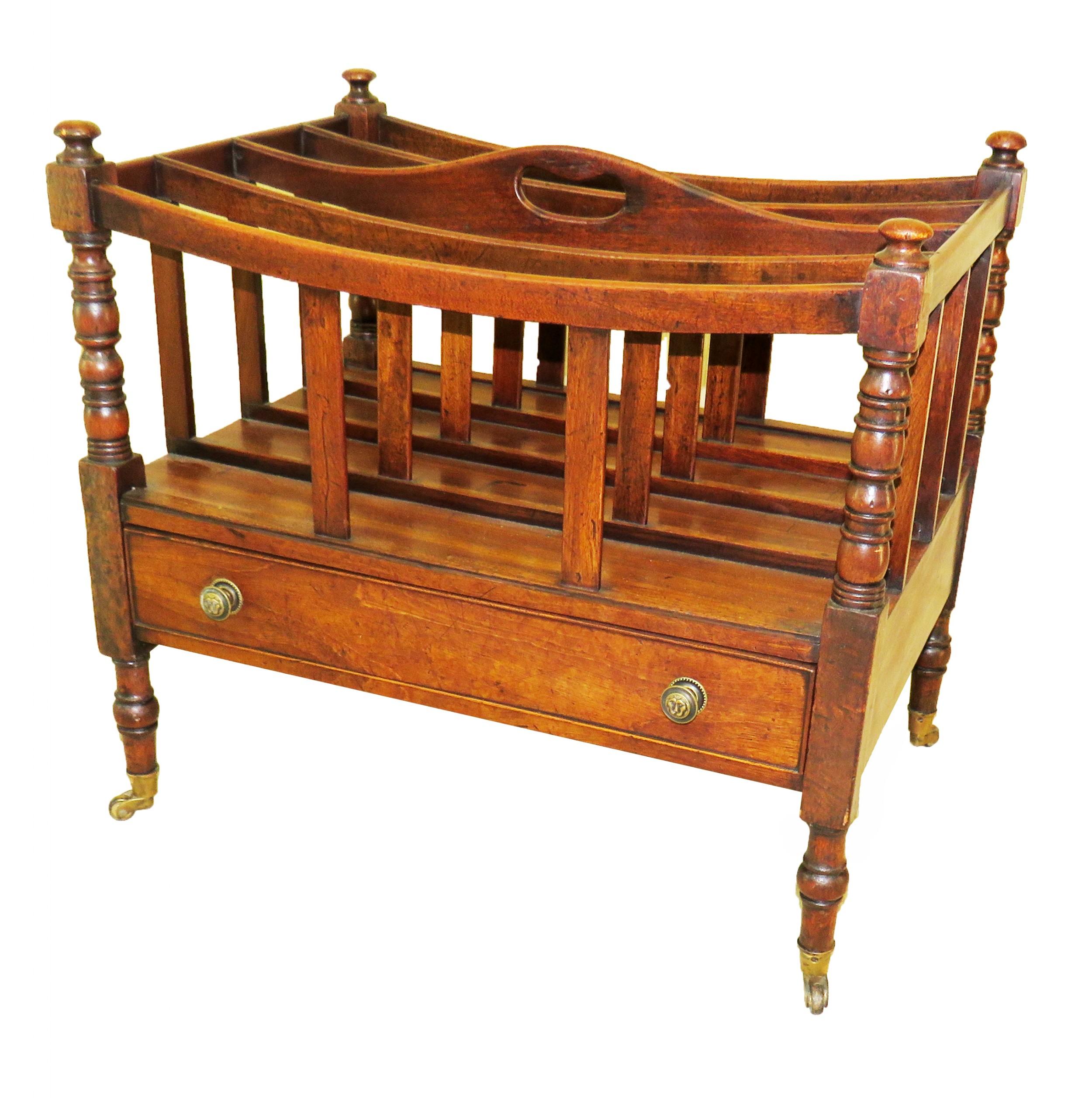 19th century regency mahogany boat shaped canterbury