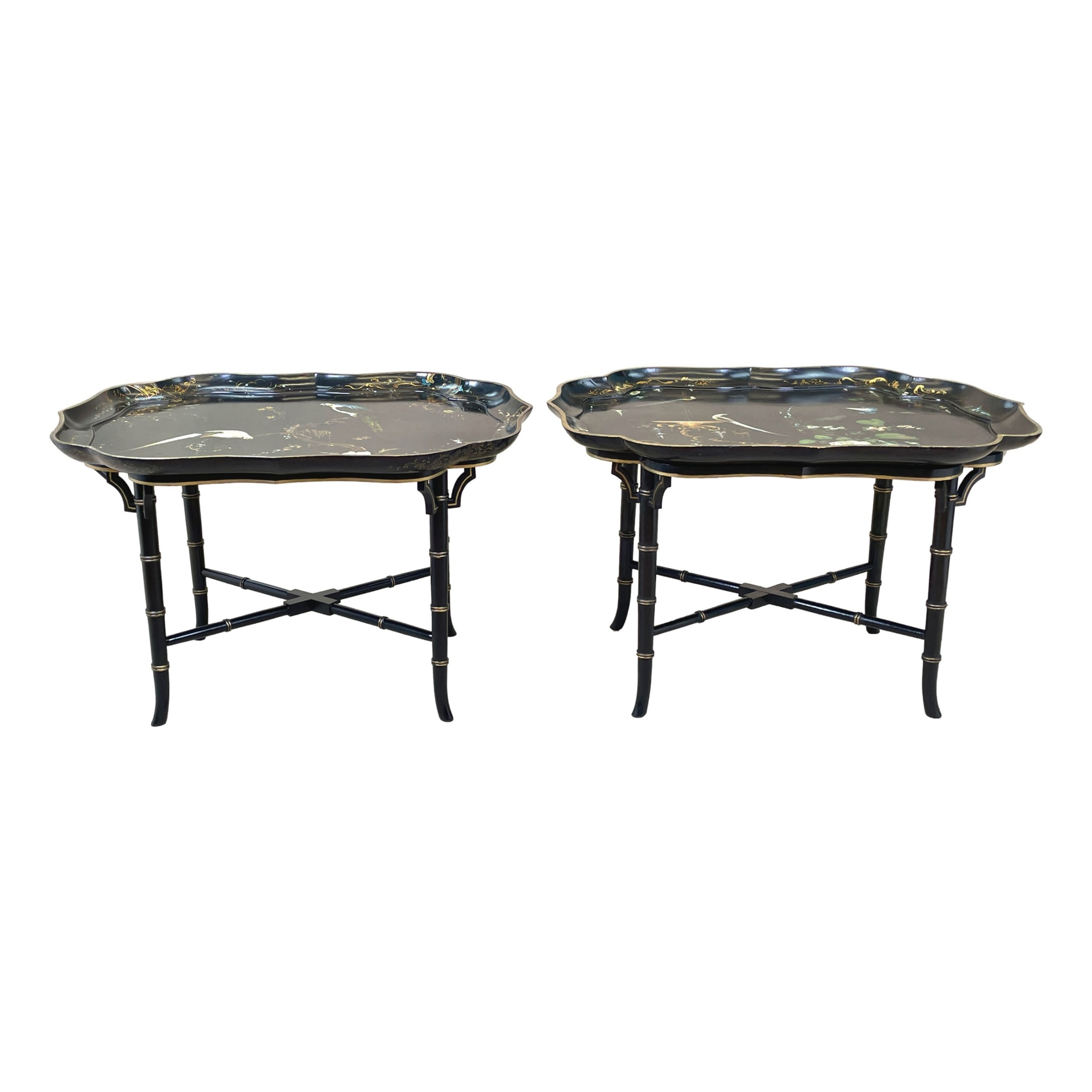 pair of papier mache tray on stand coffee tables