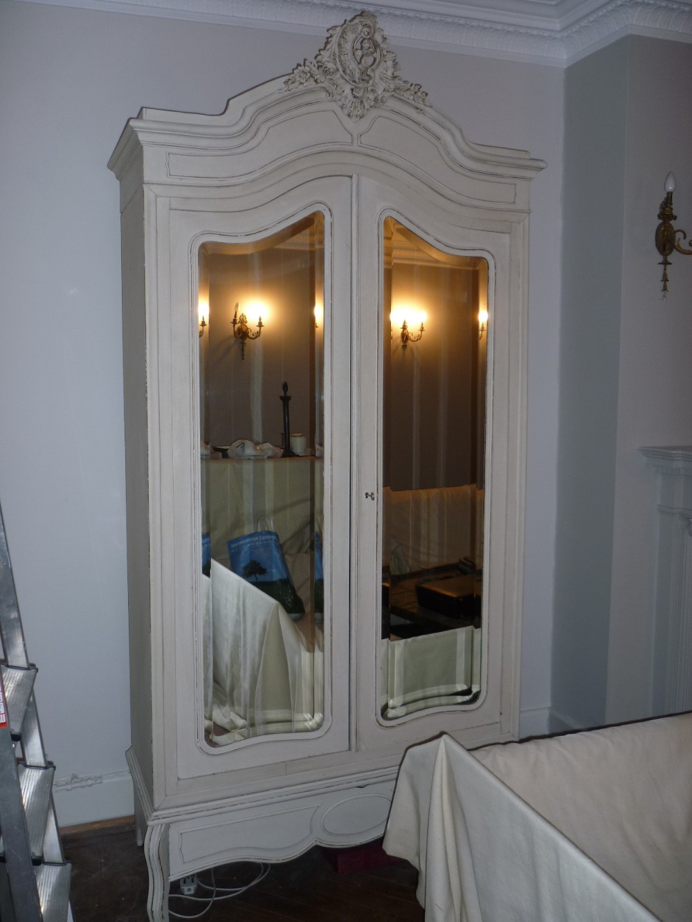 Antique French Cream Painted Double Armoire Wardrobe Hall ...