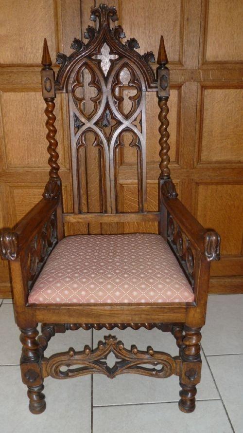 19th century carved oak gothic church chair armchair - 19th Century Carved Oak Gothic Church Chair Armchair 125382