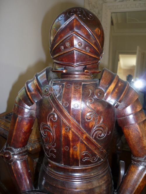 19th century carved walnut suit of armour knight