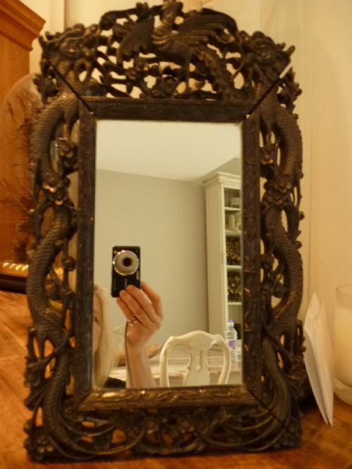 18th Century Carved Chinese Ebony Mirror Frame Dragons