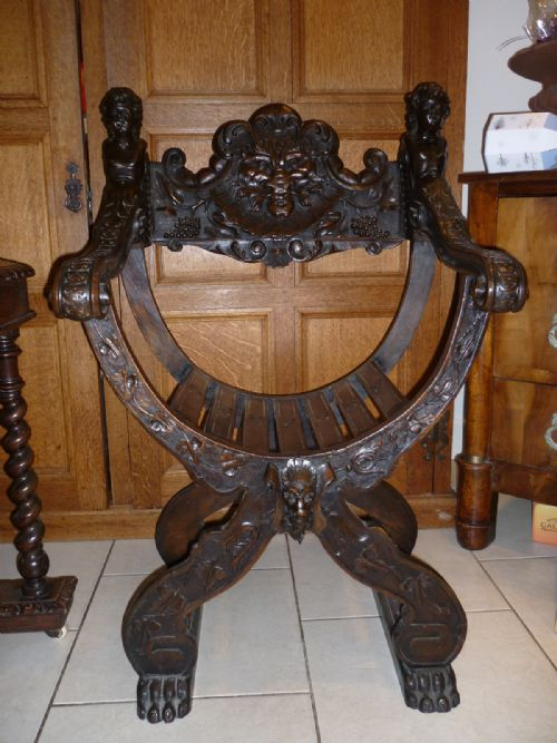 Pics photos antique wooden high chair high chairs - 19th Century Italian Walnut Savonarola Chair Cherubs Green