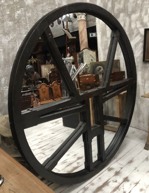 huge 19th century gothic carved oak church bell wheel mirror