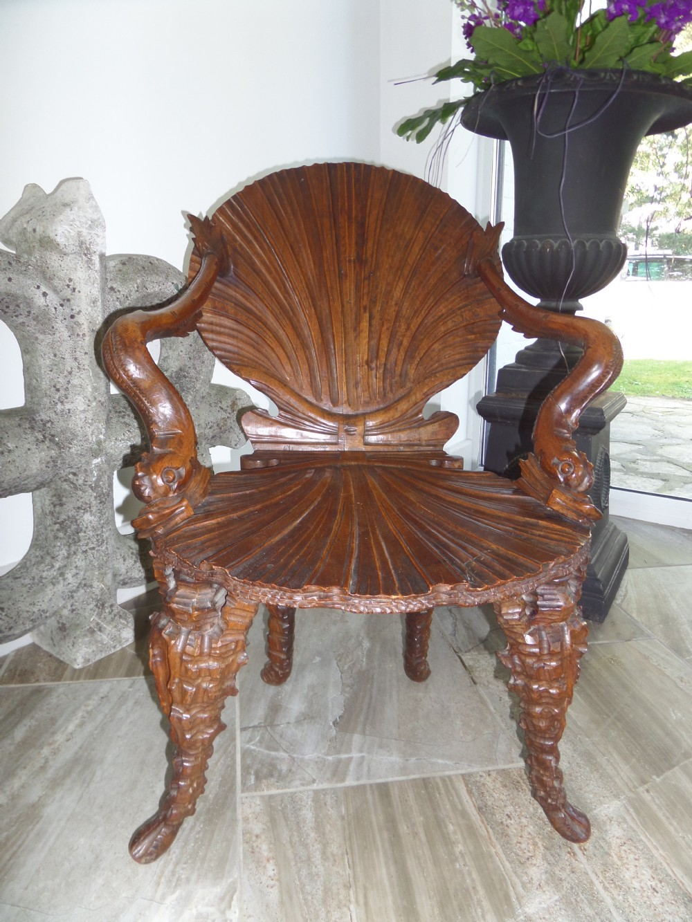 Rare 19th Century Italian Carved Walnut Grotto Venetian Baroque Chair