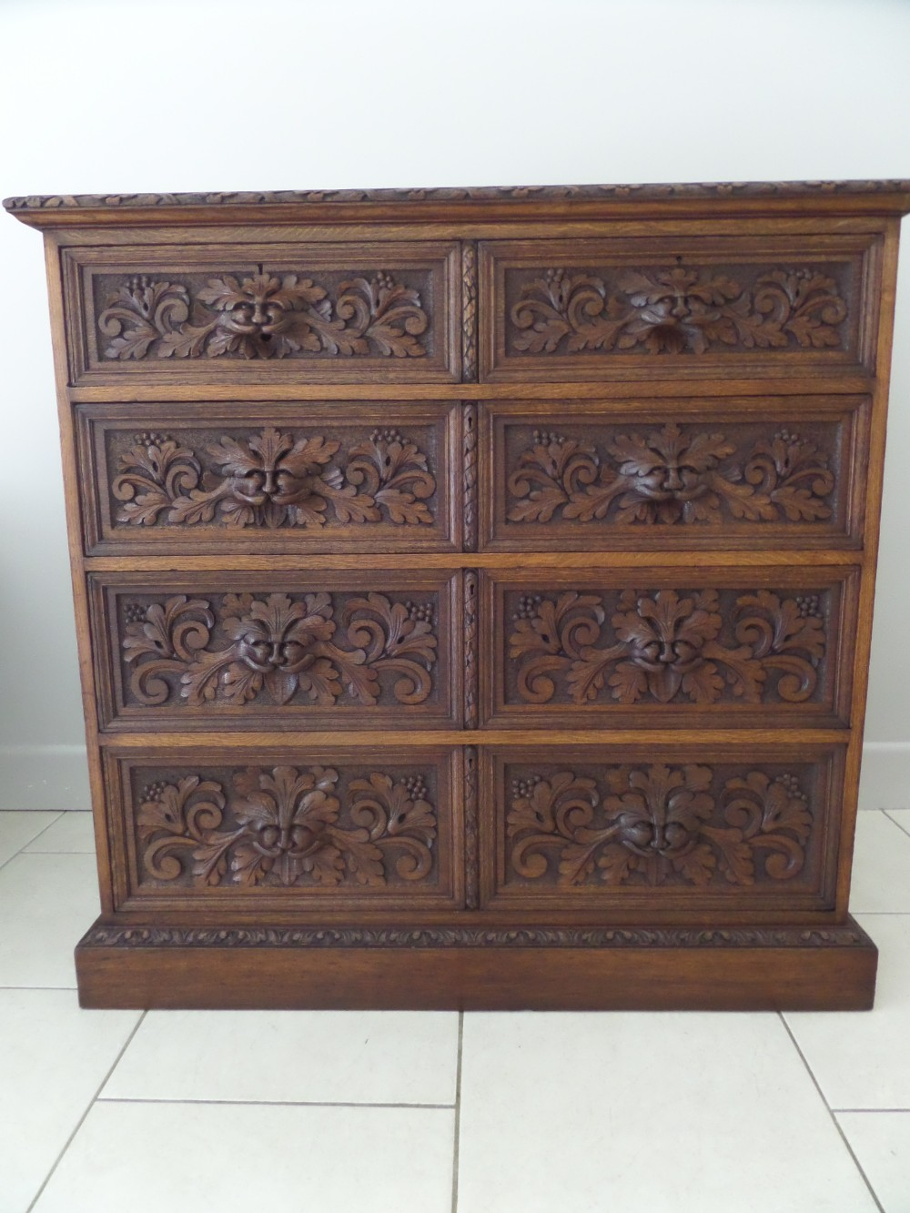 Victorian Carved Oak Gothic Green Man Chest Of Drawers
