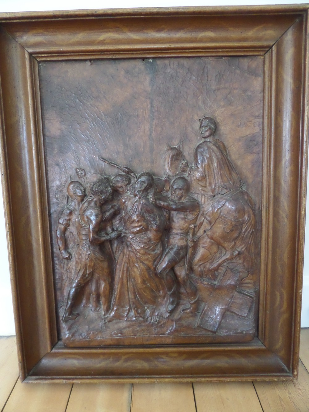 rare embossed leather panel by jacques michel dulud paris