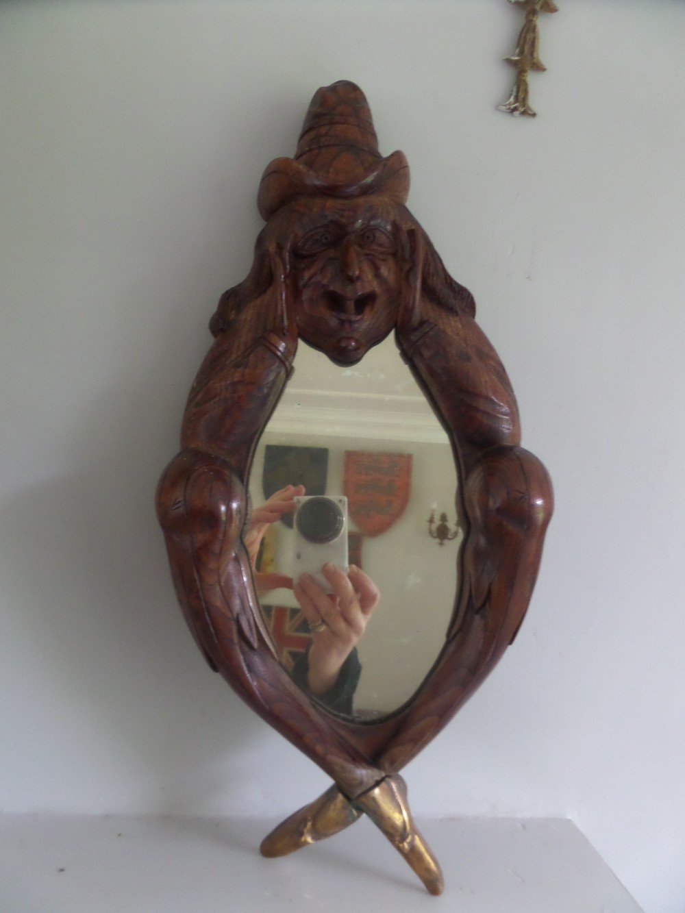 Antique black forest carved mirror witch wizard 341813 for Mirror of the witch