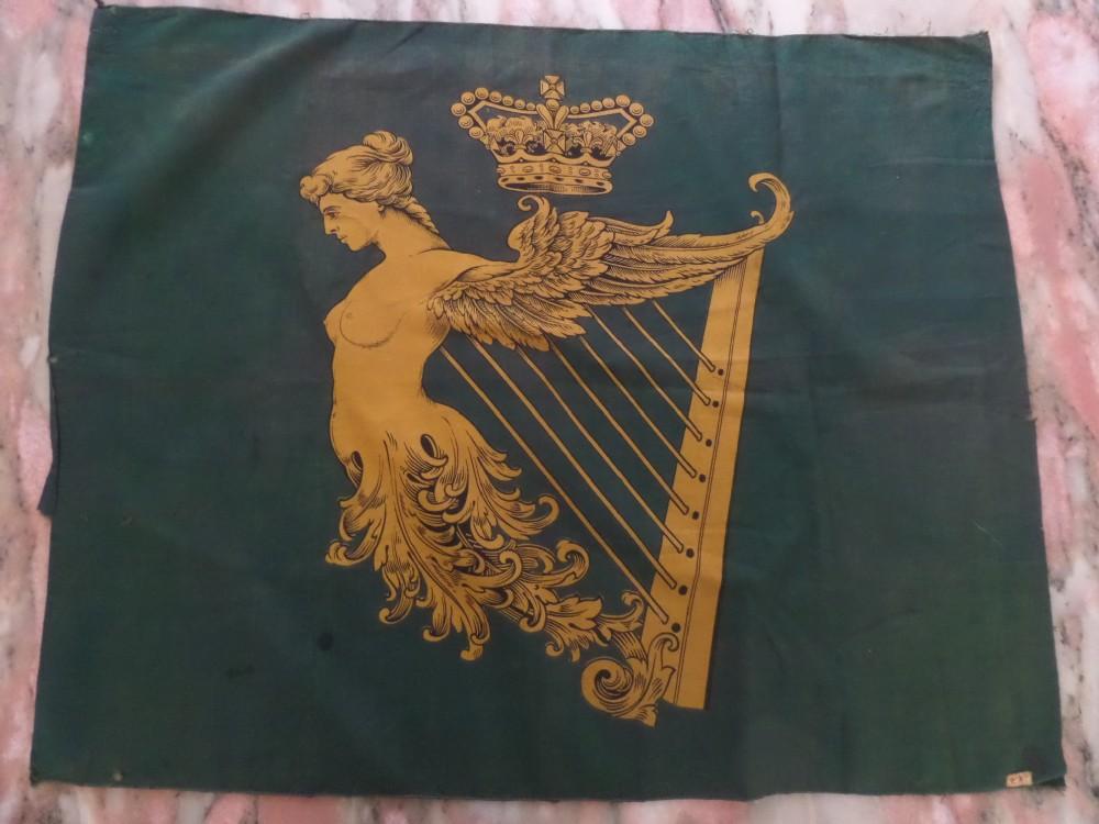 rare green 19th century irish mermaid harp crown flag