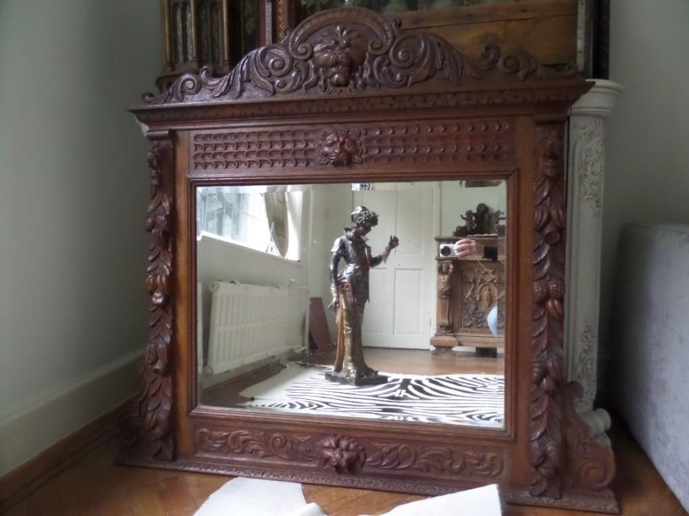 Victorian Carved Oak Lion Head Mirror Overmantel Green Man