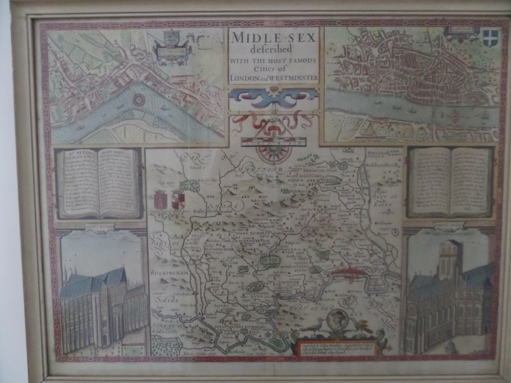 17th century antique map john speed middlesex london and westminster