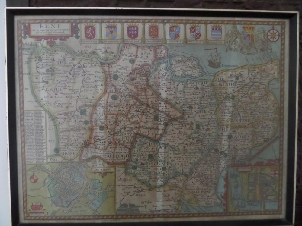 17th century antique map john speed of kent