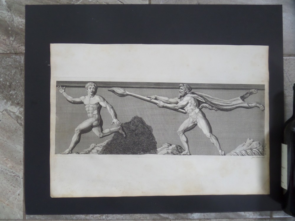 large 18th engraving antiquities of athens satyr bames basire