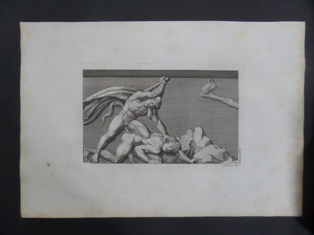 large 18th century engraving james basire antiquities of athens mythical painting