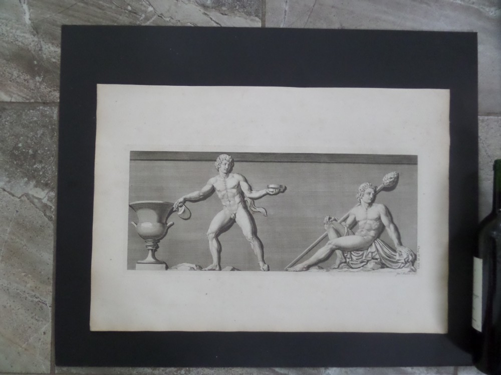 antique 18th century engraving james basire antiquities of athens nude