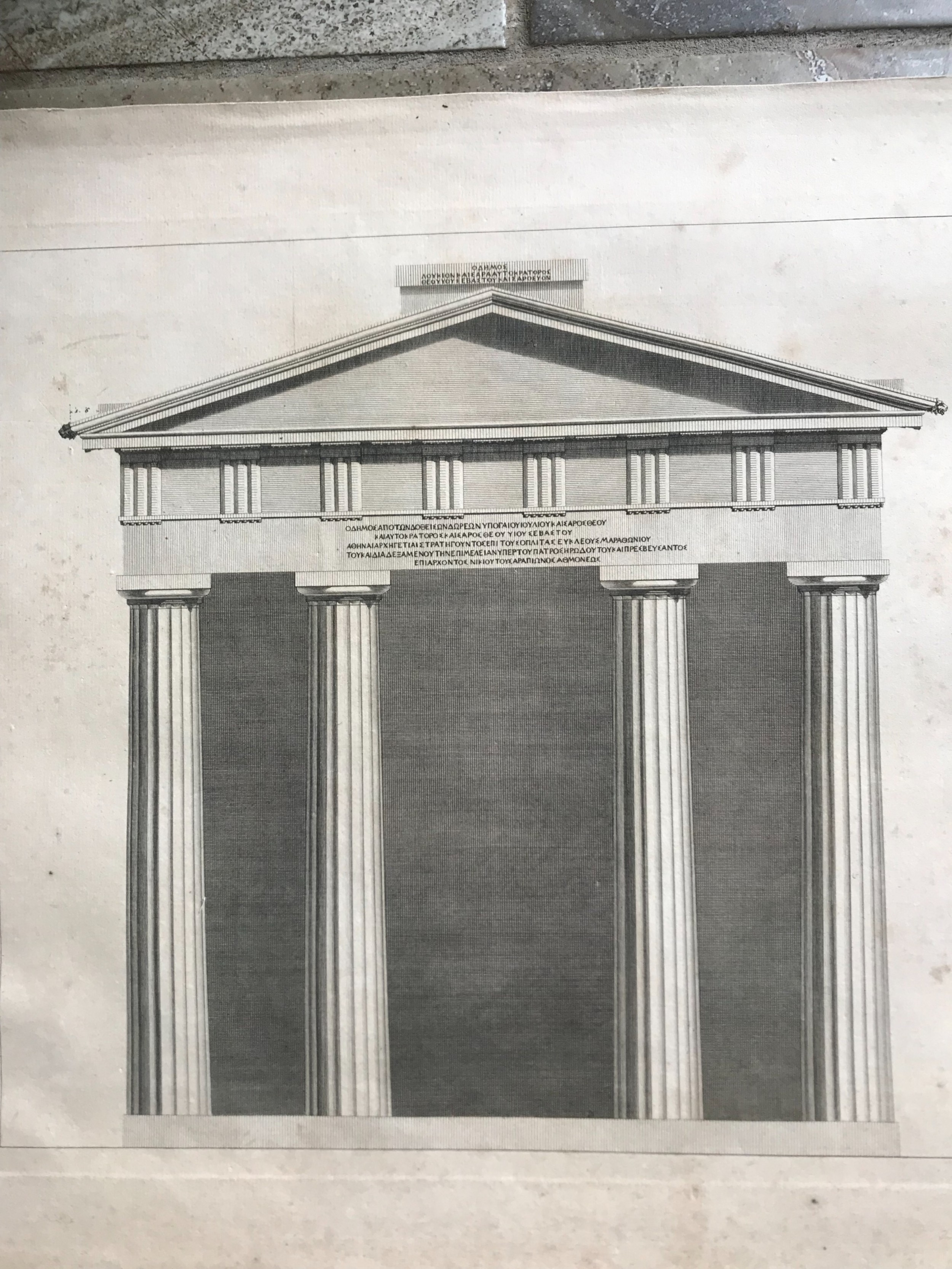 18th century architectural engravings from the doric portico athens