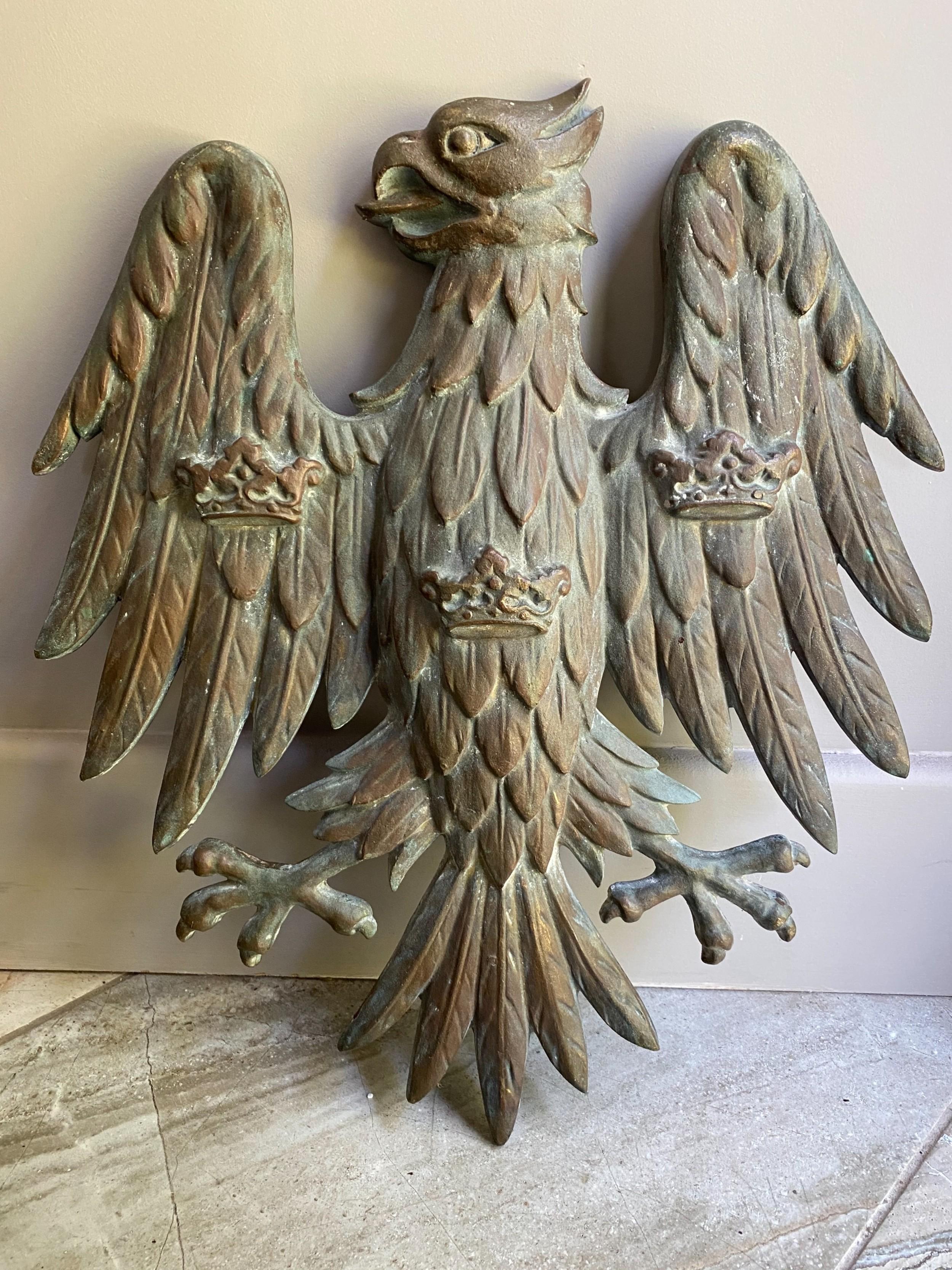 antique large heavy verdigris bronze eagle