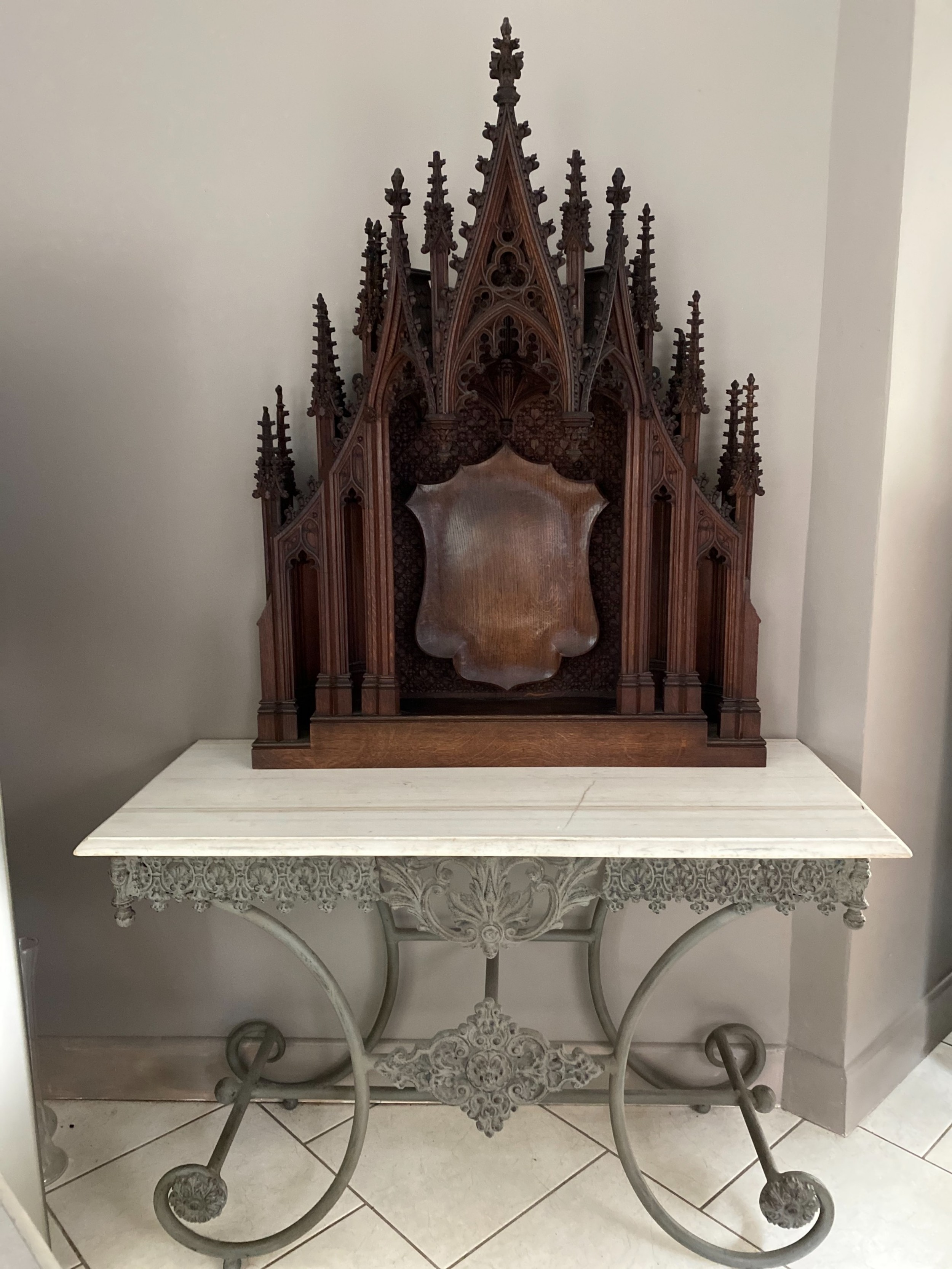 large gothic 19th century carved oak alter overmantel panel