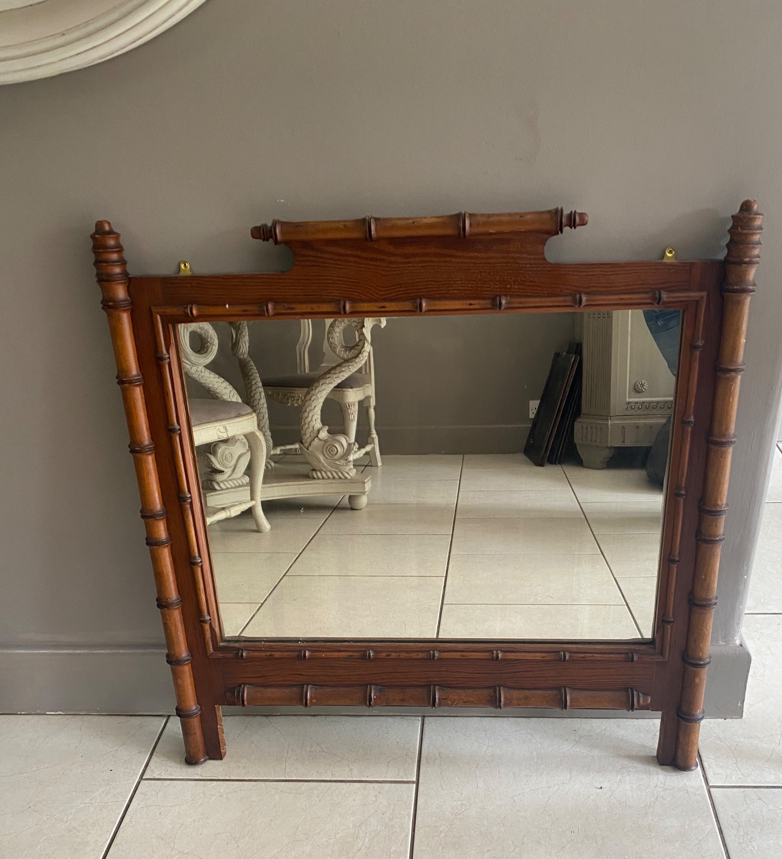 19th century carved pine faux bamboo overmantel mirror