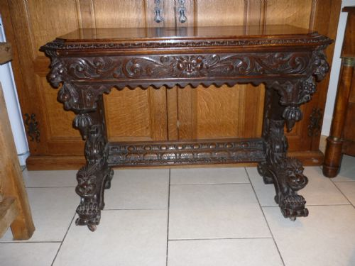 Victorian Foyer Table : Victorian antique carved oak gothic hall table