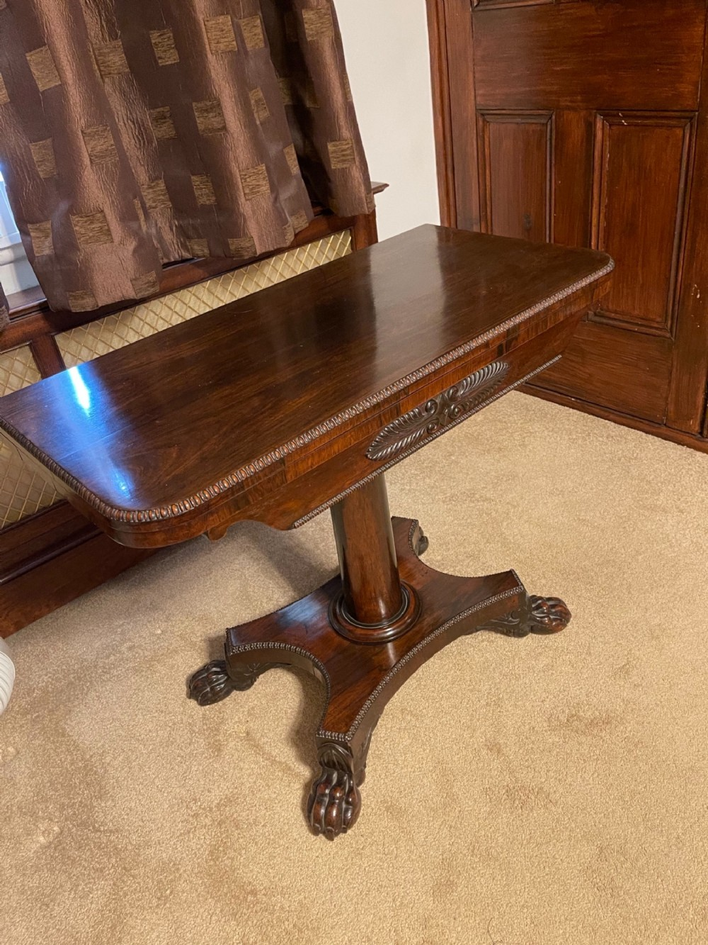19th century regency rosewood card table