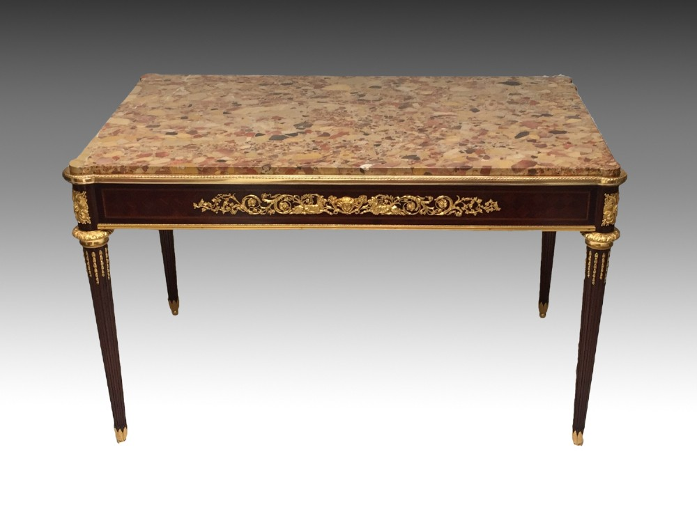 louis xvi style mahogany centre table with marble top ormolu mounts circa 1900