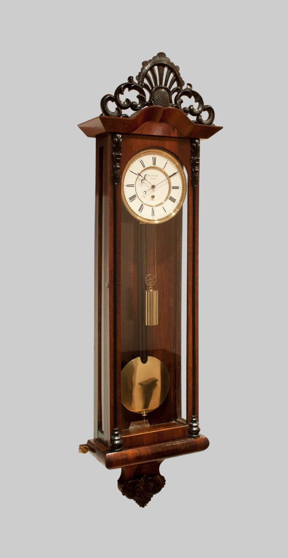 a fine quality biedermeier vienna regulator wall clock