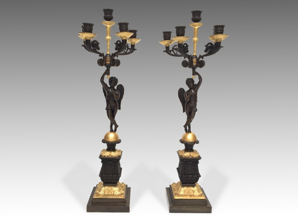 french gilt patinated bronze candelabra circa 1830