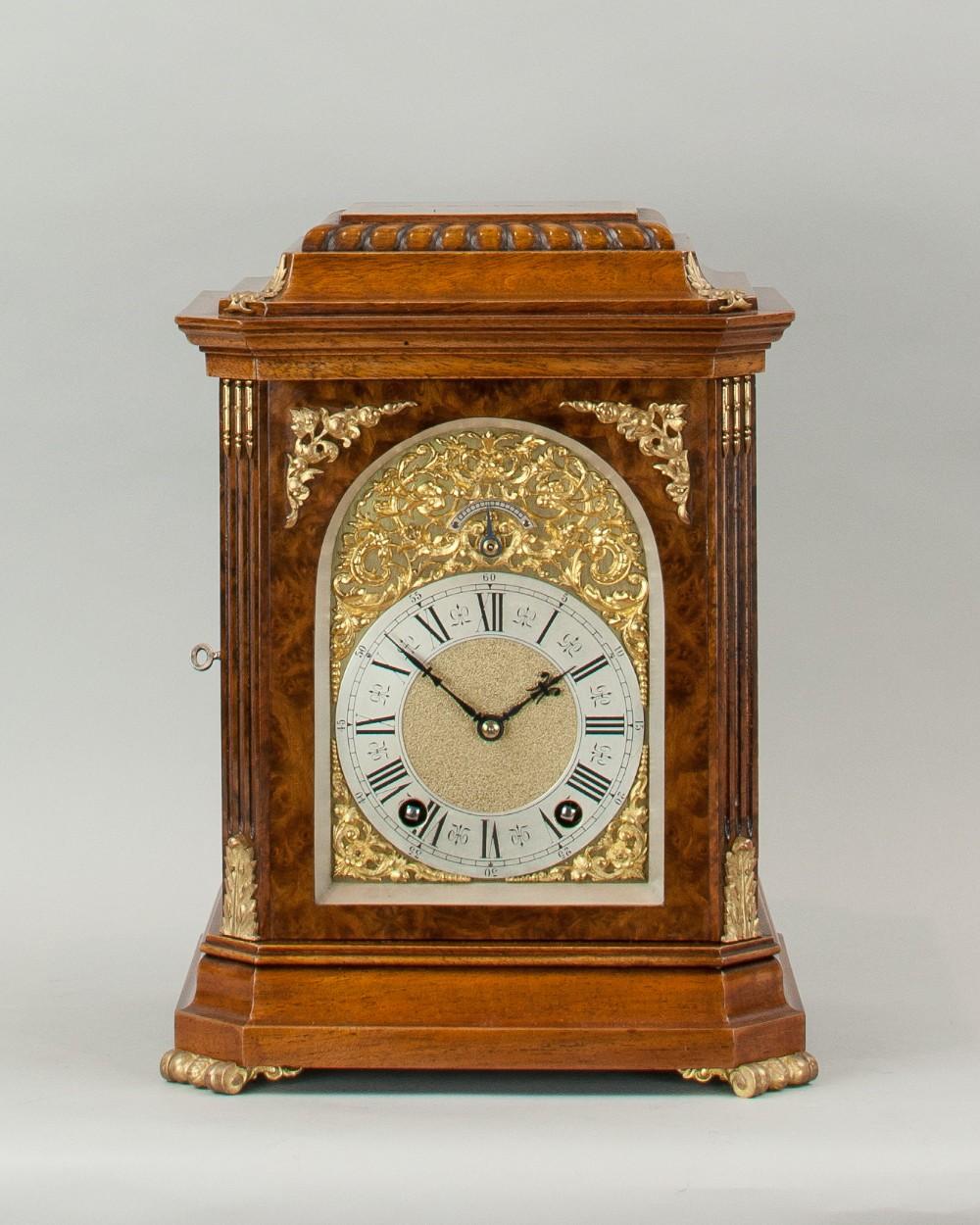 a fine quality burr walnut bracket mantel clock by lenzkirch