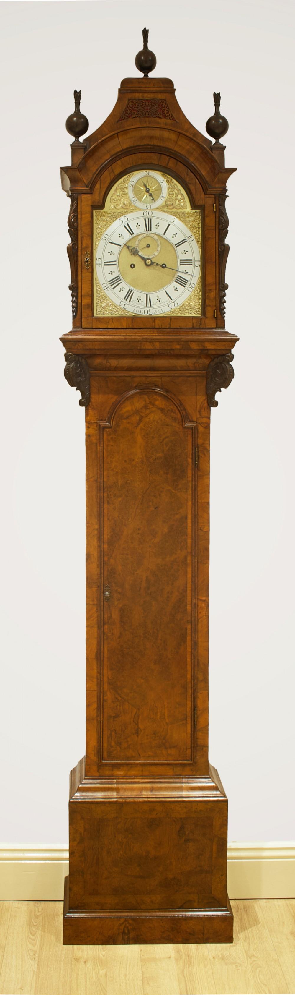a george ii walnut longcase clock windmills elkins london circa 1730