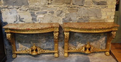pair of 19th century gilt console tables