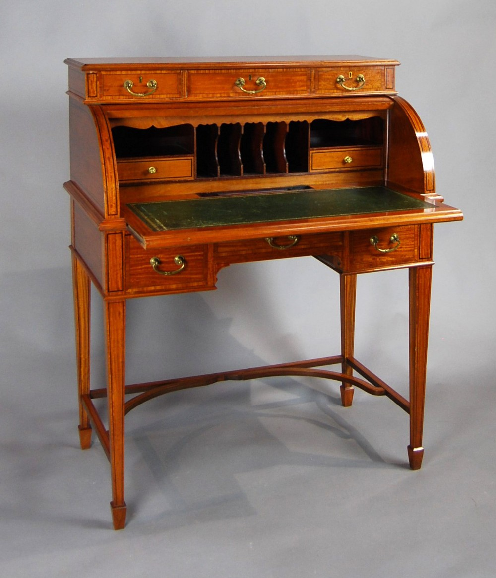 late victorian satinwood cylinder desk