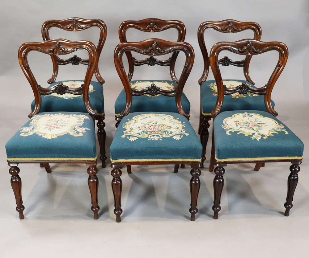 set of six william iv rosewood dining chairs