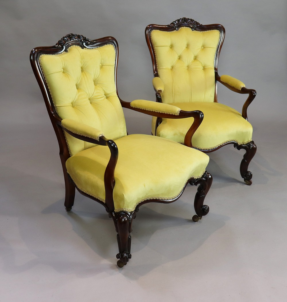 pair of victorian rosewood arm chairs