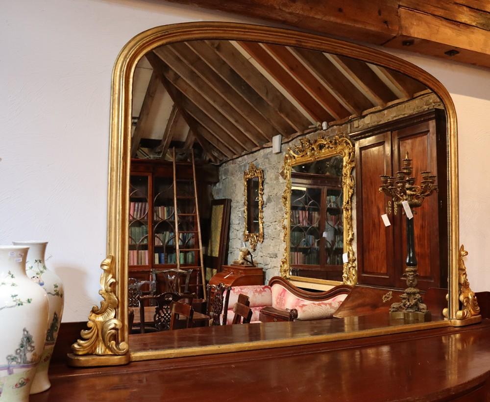 large victorian gilt overmantle mirror