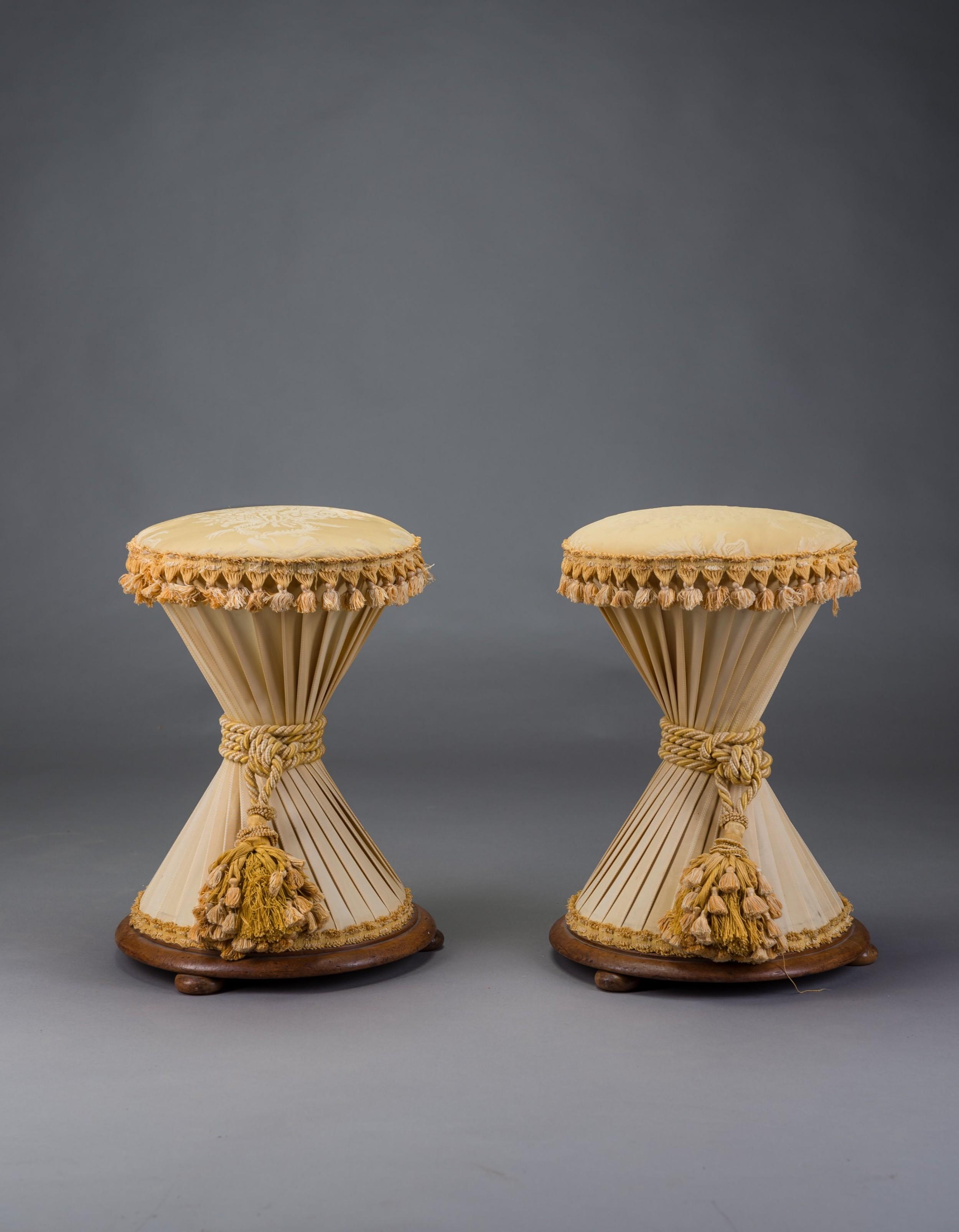 pair of hourglass stools