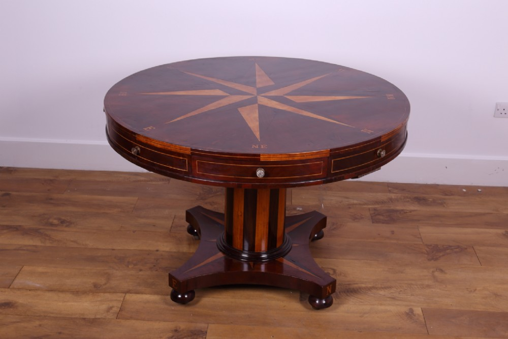 drum or round table unusual with compass markings