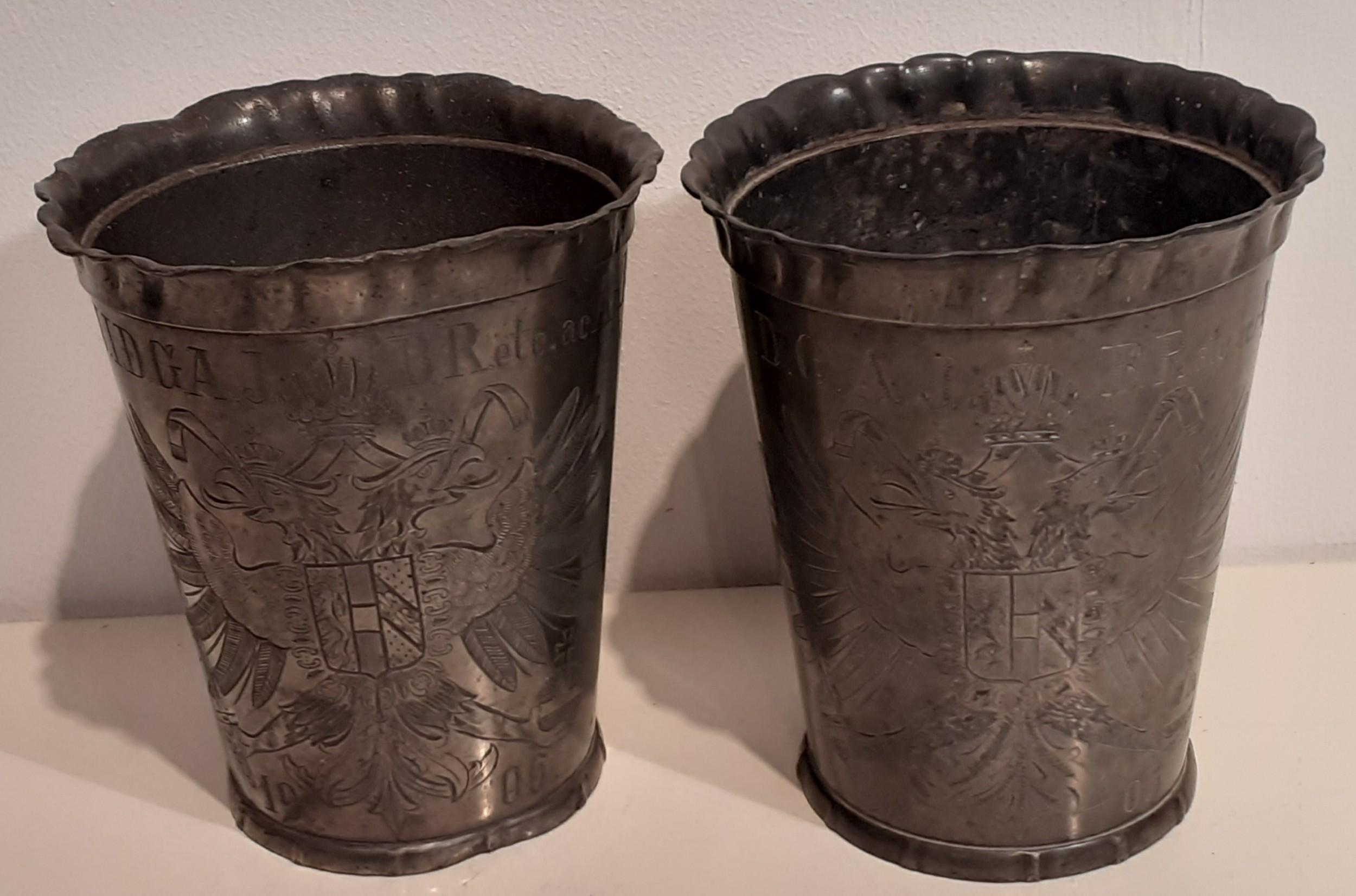 two emperor franz joseph of austria foot wash beakers1905 and 1906