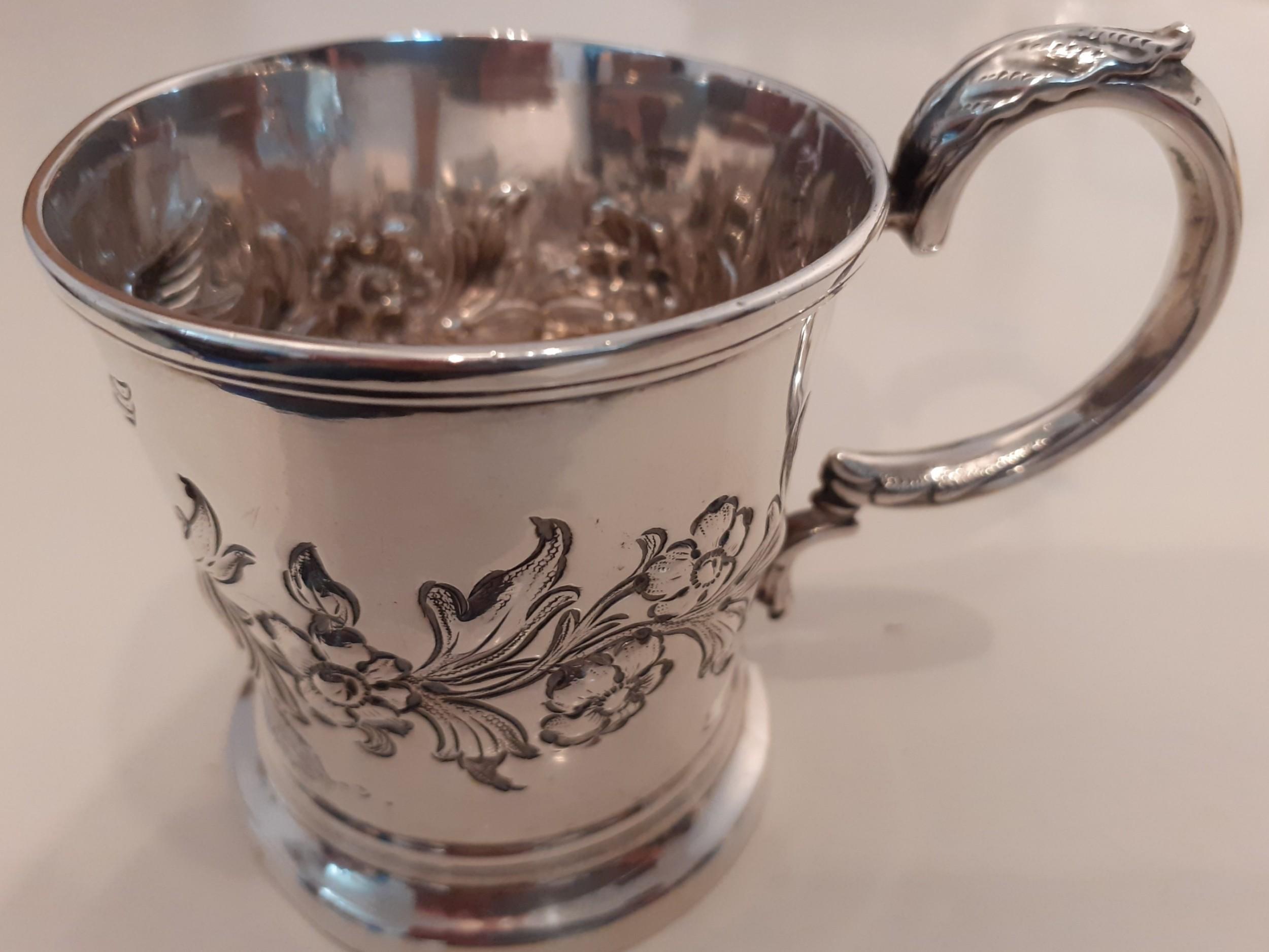silver embossed christening mug hallmarked 1849
