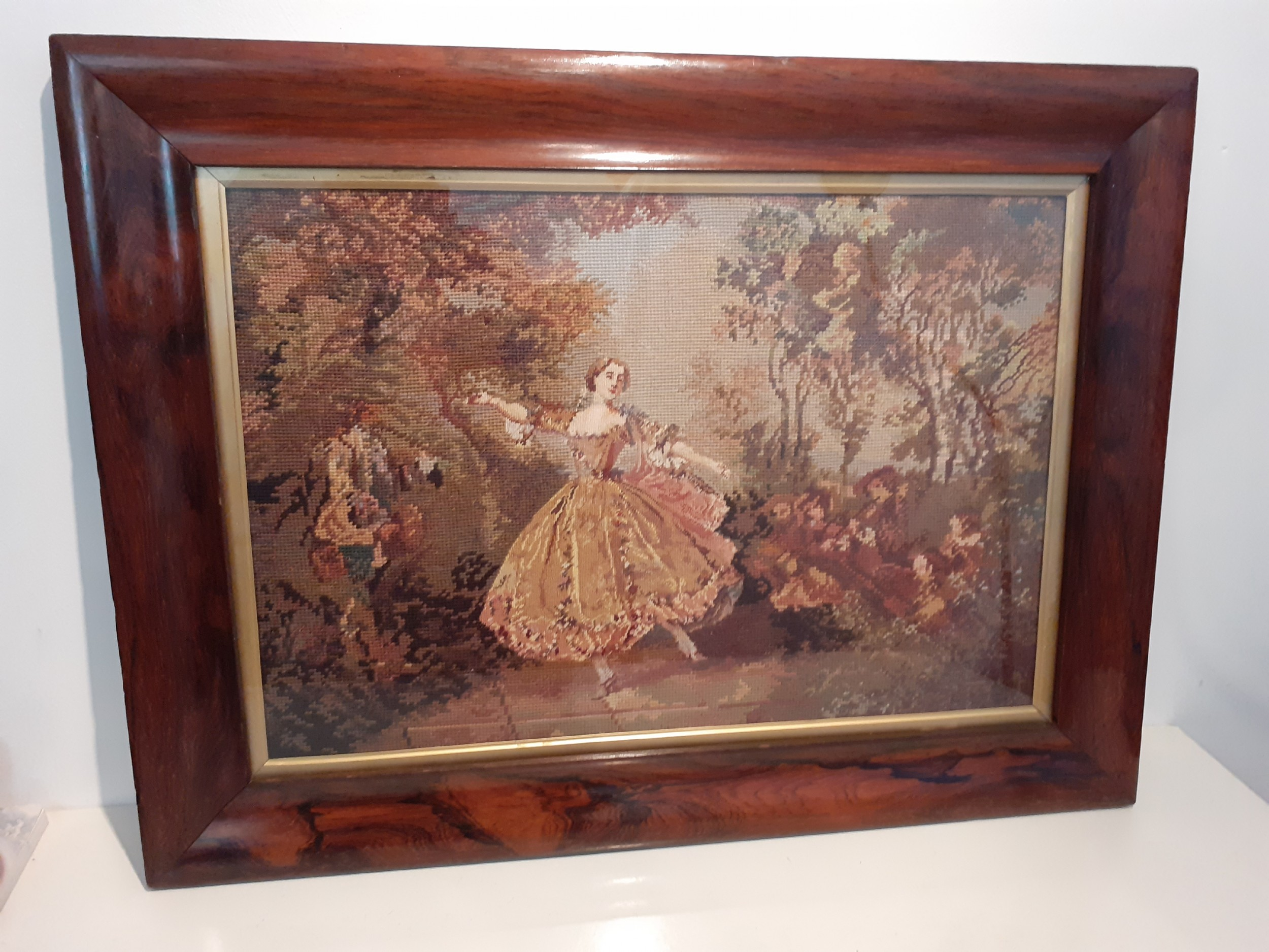 19th century gros petit point wool work in rosewood frame