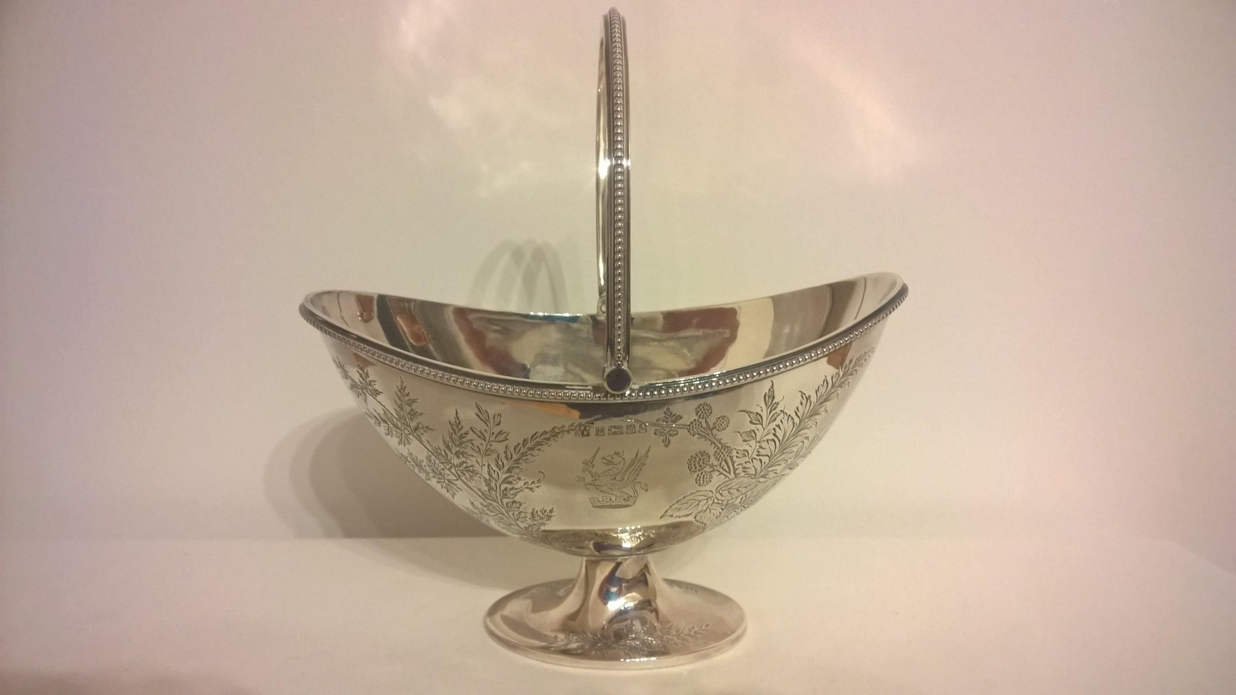 silver pedestal sweet bowl hallmarked 1877
