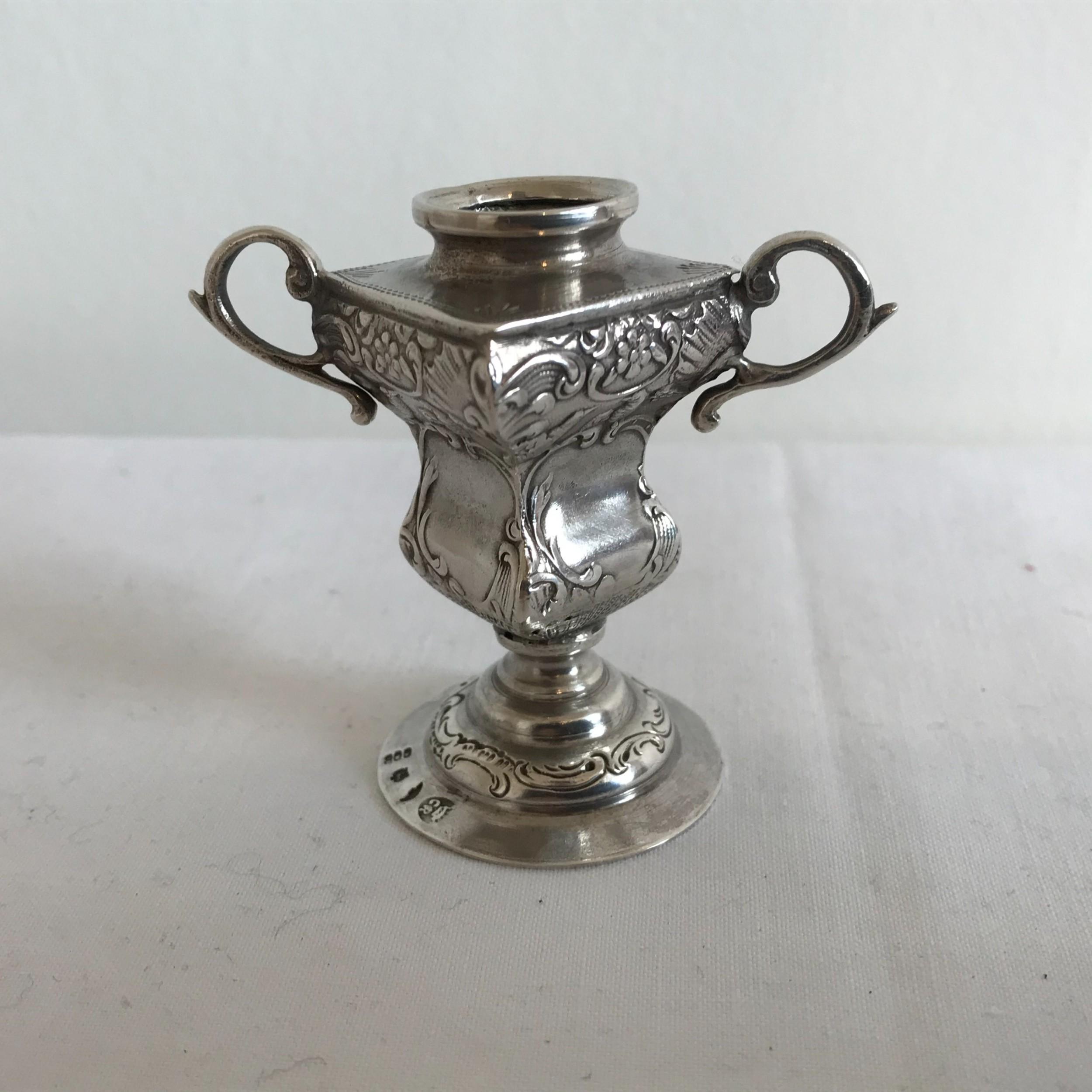 german silver miniature urn vase jugendstil