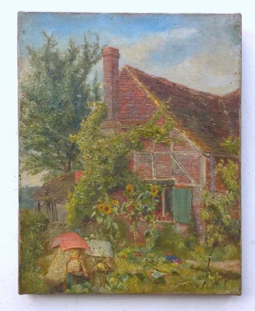 K M Attlee 1890 Original Signed English Antique Oil Painting On Canvas Cottage Garden With Sunflowers At Brockham Surrey England