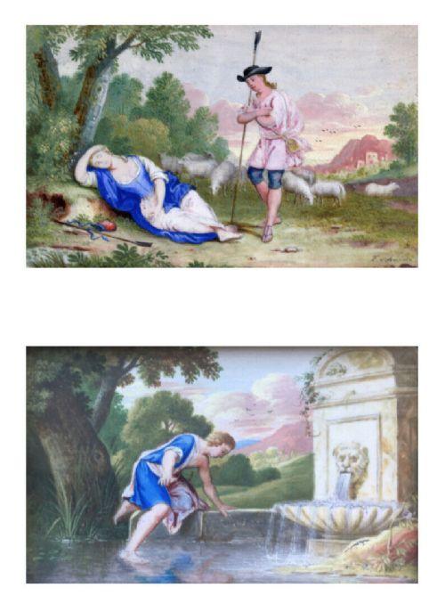 2 antique arcadian classical style miniature framed landscape gouache paintings